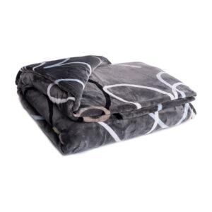 Šedo-hnědá mikroplyšová deka My House Srdce, 150 x 200 cm