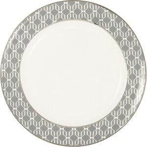 Bílo-šedý kameninový talíř Green Gate Rani,ø20,5cm