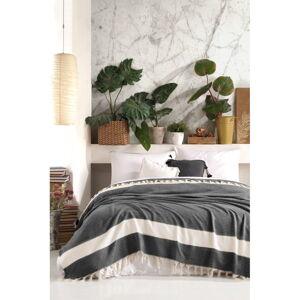 Černý bavlněný přehoz přes postel Viaden Şeritli,200x230cm