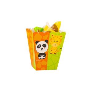 Sada 4 papírových boxů na popcorn GiviItalia Zoo Party, výška 15 cm