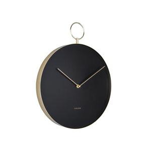 Černé kovové nástěnné hodiny Karlsson Hook,ø34cm