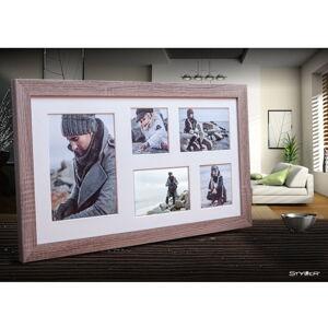 Hnědý rámeček na 5 fotografií Styler Narvik, 51x27cm