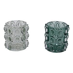 Sada 2 zelených skleněných svícnů na čajovou svíčku Ego Dekor,ø10cm